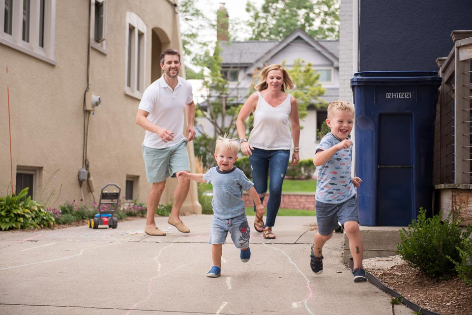 Family races during East Grand Rapids documentary day in the life session