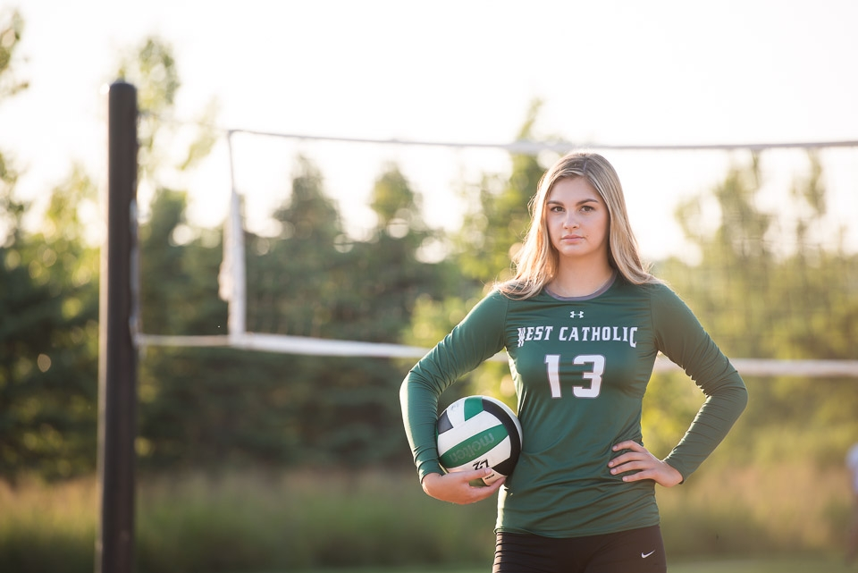 Grand Rapids personalized senior portraits of a female teenage volleyball player at Millennium Park